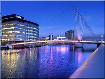 SJ8097 : Manchester Ship Canal, MediaCity Footbridge by David Dixon