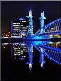 SJ8097 : Manchester Ship Canal, Lowry Bridge by David Dixon
