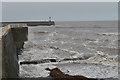 SN5780 : Waves off Aberystwyth harbour bar by Nigel Brown