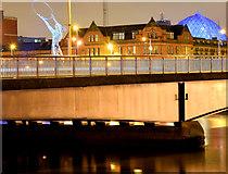 J3474 : The Queen Elizabeth Bridge, Belfast (night view) (December 2014) by Albert Bridge
