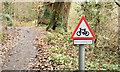 """J3168 : """"Bikes crossing"""" sign, Barnett Demesne, Belfast (December 2014) by Albert Bridge"""
