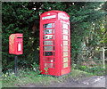 TM1598 : K6 telephone and postbox in Ashwellthorpe Road by Evelyn Simak