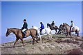 NT8014 : Horse riders at Callaw Cairn by Walter Baxter