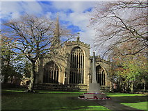 SK7953 : Newark on Trent - St Mary Magdalene Church & War Memorial by Colin Park