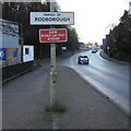 SO8405 : Parish of Rodborough boundary sign by Jaggery