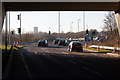 SU4416 : Roundabout beneath M27 at junction 5 by Peter Facey