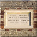 TL4860 : Willys Almshouses, Church Street, rebuilding plaque by Alan Murray-Rust