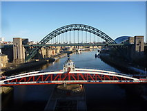 NZ2563 : Tyneside Townscape : Swingbridge And Tyne Bridge, Newcastle by Richard West