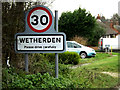 TM0062 : Wetherden Village Name sign on Park Road by Geographer