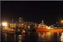 NJ9505 : Lifeboat station and Clipper Quay, Aberdeen harbour, at night by Mike Pennington