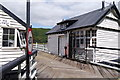 SH6918 : Buildings at the south end of the Penmaenpool Toll Bridge by Phil Champion
