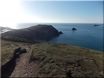 SW8576 : Trevose Head: looking back over Dinas Head by Chris Downer