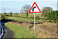 "J4371 : ""Bend to right"" sign, Comber/Dundonald (January 2015) by Albert Bridge"
