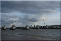 TQ4179 : View of the Thames Barrier from Thames Barrier Park #3 by Robert Lamb