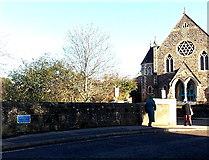 ST8026 : John Constable blue plaque on Town Bridge Gillingham by Jaggery