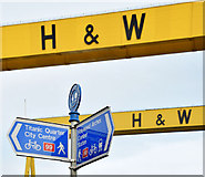 J3574 : National Cycle Network signs, Belfast (January 2015) by Albert Bridge