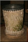ST5906 : Christening Font, Melbury Bubb Church by Becky Williamson