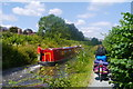 SJ2206 : A cycle tourist passes a narrowboat on the Montgomery Canal by Phil Champion