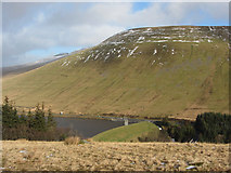 SN9817 : View of Beacons Reservoir dam towards Cefn Crew by Gareth James