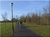 TQ4375 : Cyclists in Eltham Park South by Stephen Craven