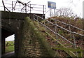 SO7114 : Wooden steps up to Blaisdon Road railway bridge near Westbury-on-Severn by Jaggery