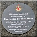 SJ8498 : Plaque for Firefighter Stephen Hunt by Gerald England