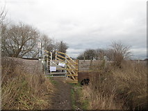 SE5613 : Footpath crossing the railway at Askern by John Slater