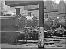 TQ2182 : Old Oak Common Locomotive Depot, 1956: inside one of the round-houses by Ben Brooksbank