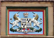 SJ9399 : Coat of Arms on Ashton Market Hall by Gerald England