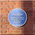 TQ3278 : Walworth Clinic – blue plaque for Charles Babbage, corner of Larcom Street by Robin Stott