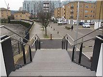 TQ3777 : Deptford Creek Swing Bridge: west steps by Stephen Craven