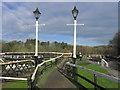 SJ6470 : Ornate lamp posts Vale Royal Lock, Weaver Navigation, N of Winsford by Colin Park
