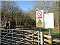 TL9193 : Warning signs and Guard's hut by Adrian S Pye