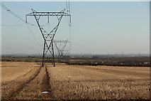 SK7369 : Power lines off Tuxford Road by Richard Croft