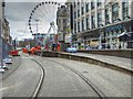 SJ8498 : Metrolink Work at Market Street by David Dixon