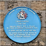 SJ9995 : Blue Plaque to Lawrence Earnsaw by Gerald England