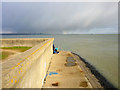 TQ8282 : Fishing off Leigh Beck, Canvey Island by Robin Webster