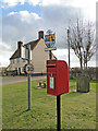 TM3958 : Postbox, village sign and The Crown Inn at Snape by Adrian S Pye