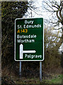 TM0977 : Roadsigns on the A143 Old Bury Road by Geographer