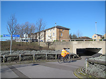 TQ4077 : Cycle route through Sun in the Sands junction by Stephen Craven