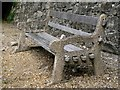 SU4111 : Old concrete and timber bench by Town Quay, Southampton by Robin Stott