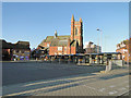 TM5493 : Lowestoft Bus Station and the Catholic church by Adrian S Pye