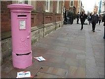SO8554 : Pink pillarbox, High Street, Worcester by Philip Halling