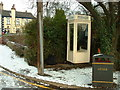 SE9326 : Kingston White Public Telephone Box in the Snow by Road Engineer