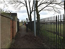 SJ8545 : Newcastle-under-Lyme: path between Palmers Way and Palmers Green by Jonathan Hutchins