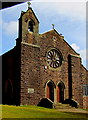 SS8594 : Bell tower and rose window, St Cynfelyn's Church, Caerau by Jaggery