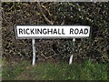 TM0276 : Rickinghall Road sign by Adrian Cable
