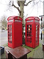 TQ2682 : Pair of K2 Telephone Boxes outside Warrington Hotel by David Anstiss