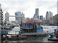 TQ3479 : Houseboat and Tower Bridge by David Anstiss