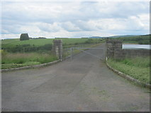 SN8329 : Barrier at north end of Usk Reservoir Dam by peter robinson
